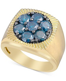 Men's Blue Diamond Cluster Ring (2-3/4 ct. t.w.) in 10k Gold