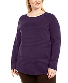 Plus Size Cotton Textured-Stripe Sweater, Created for Macy's