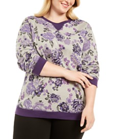 Karen Scott Plus Size Printed Fleece Crewneck Top, Created for Macy's