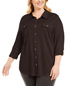 Karen Scott Plus Size Polo-Style Shirt, Created for Macy's
