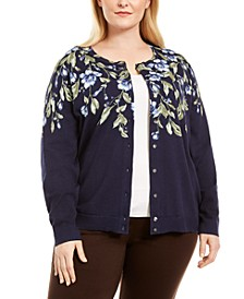 Plus Size Cascade Floral-Print Cardigan Sweater, Created for Macy's