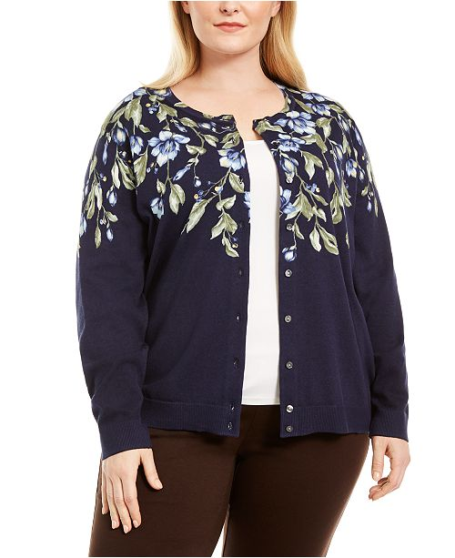 Karen Scott Plus Size Cascade Floral-Print Cardigan Sweater, Created for Macy's