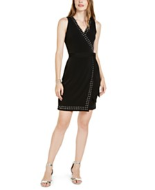 I.N.C. Petite Studded-Trim Faux-Wrap Dress, Created for Macy's