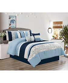 Luxlen Parakh 7 Piece Comforter Set, Queen