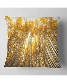 "Designart Autumn Bamboo Grove in Yellow Oversized Forest Throw Pillow - 26"" x 26"""