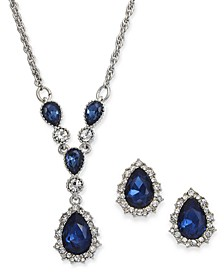 "Silver-Tone Crystal and Stone Lariat Necklace & Stud Earrings Set, 17"" + 2"" extender, Created For Macy's"