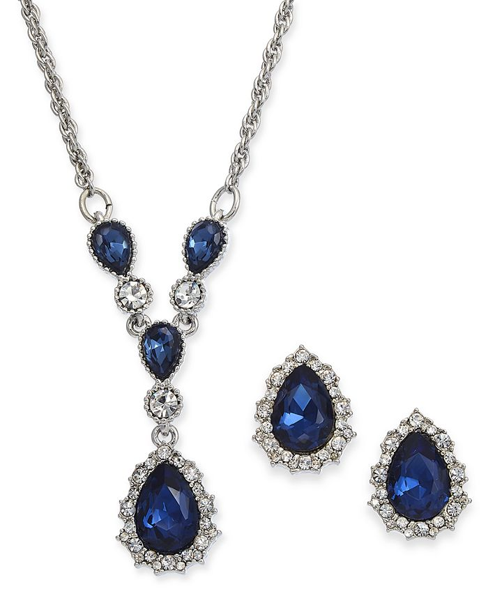 """Charter Club - Silver-Tone Crystal and Stone Lariat Necklace & Stud Earrings Set, 17"""" + 2"""" extender"""