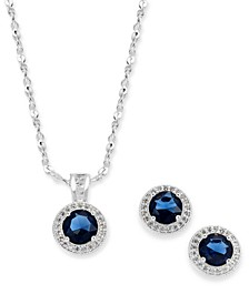 "Silver-Tone Pavé and Stone Pendant Necklace & Stud Earrings Set, 17"" + 2"" extender, Created For Macy's"