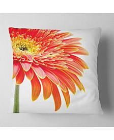 """Designart Orange Gerbera on White Background Floral Throw Pillow - 18"""" x 18"""""""
