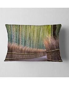 "Designart Pathway Inside Bamboo Forest Forest Throw Pillow - 12"" x 20"""