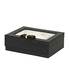 Mele Co. Dixie Glass Top Jewelry Box in Textured Faux Leather