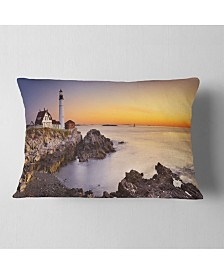 "Designart Portland Head Lighthouse Maine Modern Seascape Throw Pillow - 12"" x 20"""