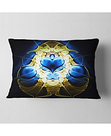"Designart Large Blue Gold Symmetrical Fractal Heart Abstract Throw Pillow - 12"" x 20"""