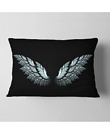 """Designart Angel Wings on Black Background Abstract Throw Pillow - 12"""" x 20"""""""