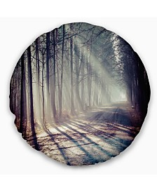 """Designart Morning Sunbeams to Forest Road Landscape Photography Throw Pillow - 16"""" Round"""