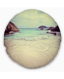 """Designart Vintage Style Seashore Thailand Seascape Throw Pillow - 16"""" Round"""