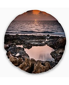 "Rocky African Coastline Sunset Oversized Beach Throw Pillow - 16"" Round"