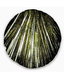 """Designart Long Bamboos in Bamboo Forest Forest Throw Pillow - 16"""" Round"""