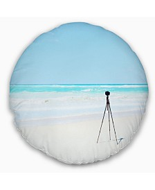 "Designart Digital Camera and Tripod on Beach Landscape Wall Throw Pillow - 16"" Round"