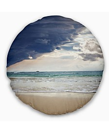 """Designart Heavy Clouds over Pacific Ocean Seascape Throw Pillow - 16"""" Round"""