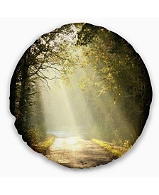 """Designart Bright Sunbeams to Fall Forest Landscape Photography Throw Pillow - 20"""" Round"""