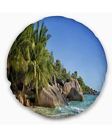 "Designart Anse Lazio Praslin Island Seychelles Seashore Throw Pillow - 20"" Round"