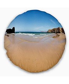"Calm Sandy Coastline Panorama Oversized Beach Throw Pillow - 20"" Round"