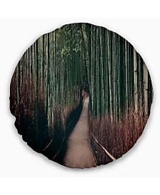 "Designart Bamboo Grove in Arashiyama Panorama Forest Throw Pillow - 20"" Round"