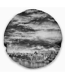 "Designart Black and White Panoramic London Cityscape Throw Pillow - 20"" Round"