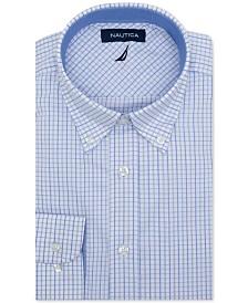 Nautica Men's Classic/Regular-Fit Comfort Stretch Wrinkle-Free Plaid Dress Shirt