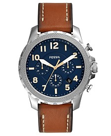 Fossil Men's Chronograph Bowman Brown Leather Strap Watch 46mm