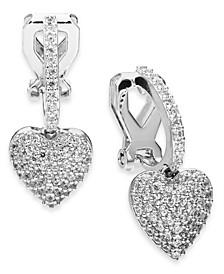 Danori Cubic Zirconia Huggie Heart Clip-On Drop Earrings, Created For Macy's