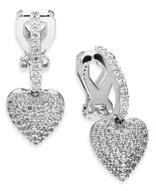 Eliot Danori Danori Cubic Zirconia Huggie Heart Clip-On Drop Earrings, Created For Macy's