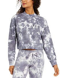Calvin Klein Performance Sunburst Tie-Dyed Cropped Sweatshirt