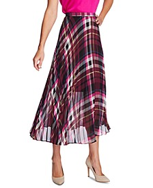Plaid Escape Pleated Midi Skirt