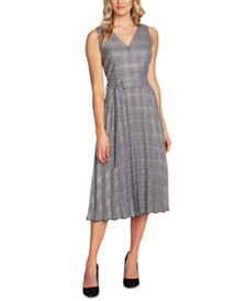 Vince Camuto Plaid Belted Dress