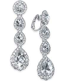 Silver-Tone Cubic Zirconia Clip-On Drop Earrings, Created For Macy's