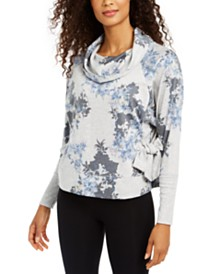 Ideology Botanic Printed Cowl-Neck Side-Tie Top, Created for Macy's
