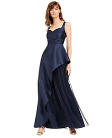Mikado Asymmetrical-Pleated Gown