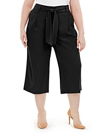 Plus Size Tummy-Control Tie-Waist Culottes, Created for Macy's