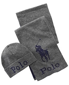 Polo Ralph Lauren Men's Jacquard Hat & Scarf Set