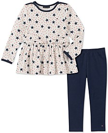 Little Girls Star-Print Tunic & Leggings Set
