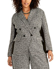 Trendy Plus Size Animal-Print Blazer