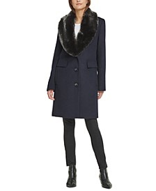 Single-Breasted Faux-Fur Shawl Collar Coat