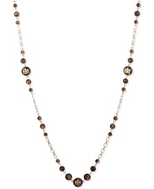 """Gold-Tone & Tortoise-Look Crest 42"""" Strand Necklace"""