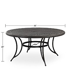 """Cast Aluminum 60"""" Round Outdoor Dining Table, Created for Macy's"""