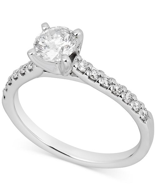 Macy's Certified Diamond Engagement Ring (1 ct. t.w.) in 14k White Gold