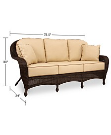 Monterey Wicker Outdoor Sofa with Sunbrella® Cushions, Created for Macy's
