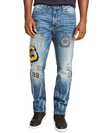 Men's Slim-Fit Straight Stretch Varsity Pledge Jeans