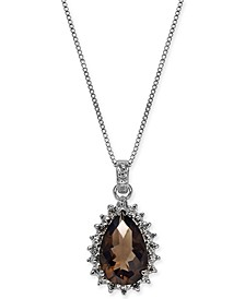"Smoky Quartz (2-1/3 ct. t.w.) & Diamond (1/5 ct. t.w.) Teardrop 18"" Pendant Necklace in Sterling Silver"